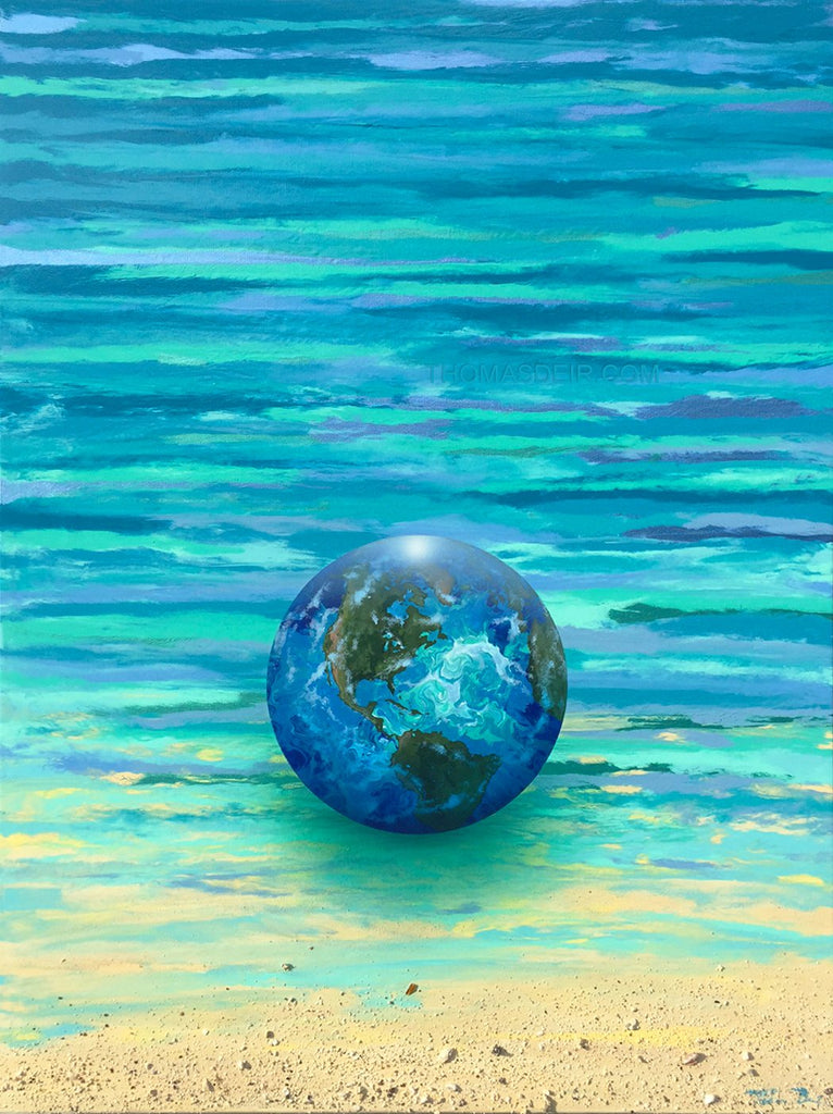 Earth Glass Ball by Hawaii Artist Thomas Deir