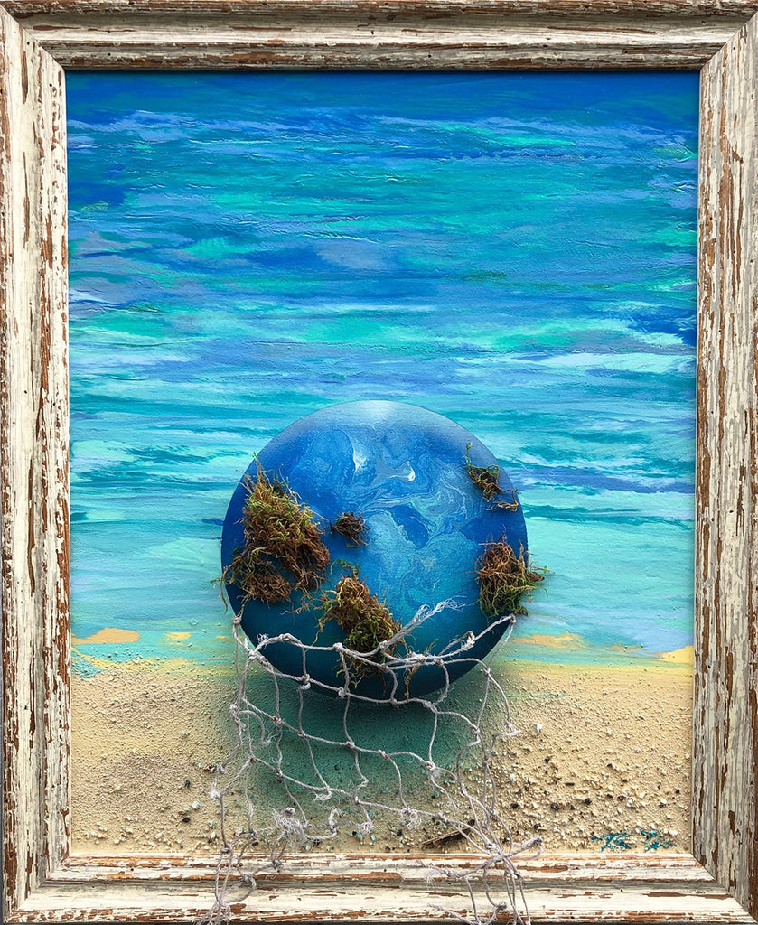 Earth Glass Ball Moss 1 19x23 Framed Painting