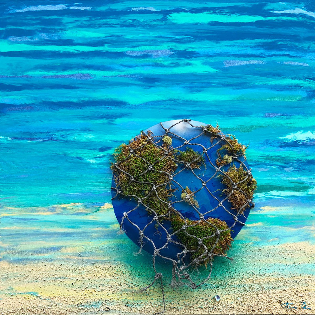 Earth Glass Ball Moss Net 24x24 Painting