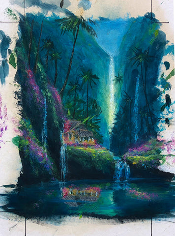 Enchanted Tropical Waterfall Color Sketch 6x8 Painting