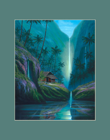 Enchanted Tropical Waterfall Hawaii art prints gift print