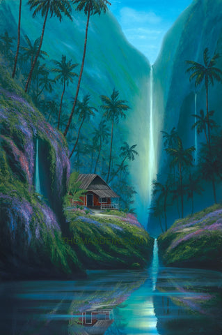 Enchanted Tropical Waterfall Painting by Hawaii Artist - Holiday Sale!