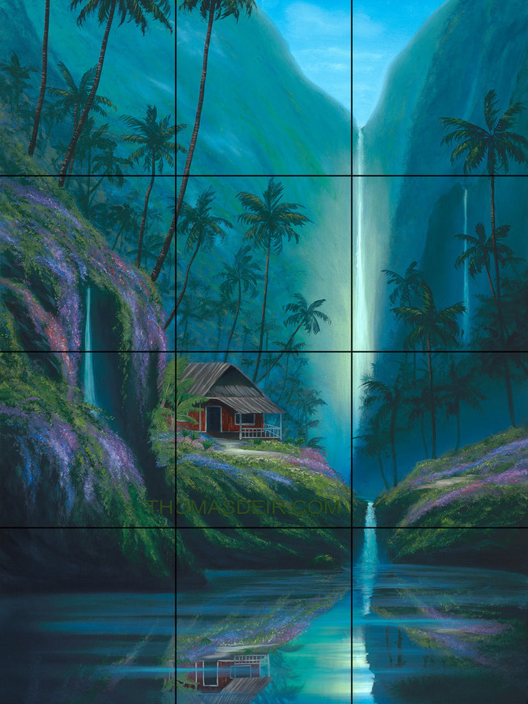 Enchanted Tropical Waterfall Tile Mural