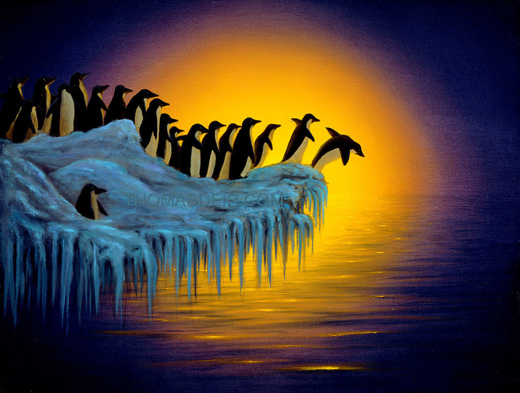 First Dip Penguin Painting by Hawaii Artist Thomas Deir