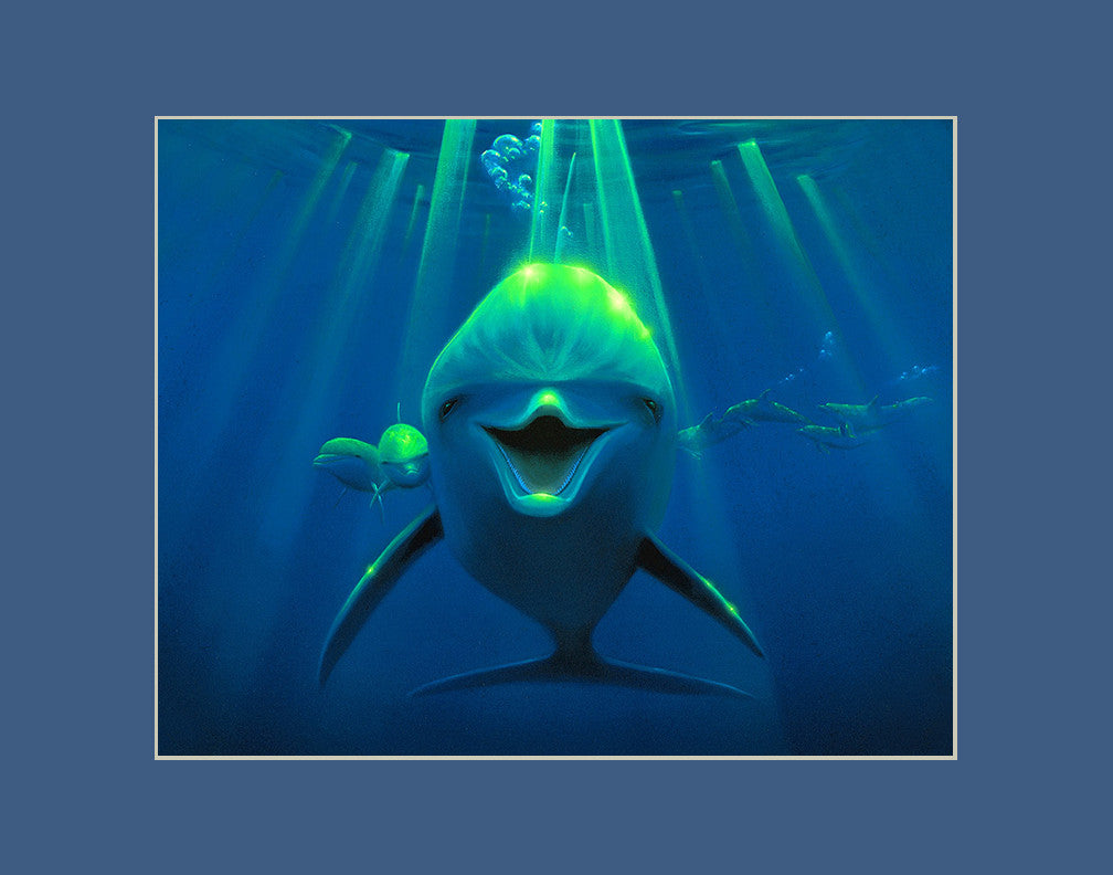 Friendly Curiousity Dolphin Hawaii art prints gift print