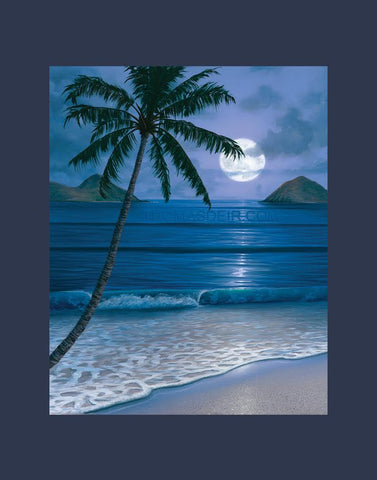 Full Moon Mokuluas Matted Print by Hawaii Artist Thomas Deir