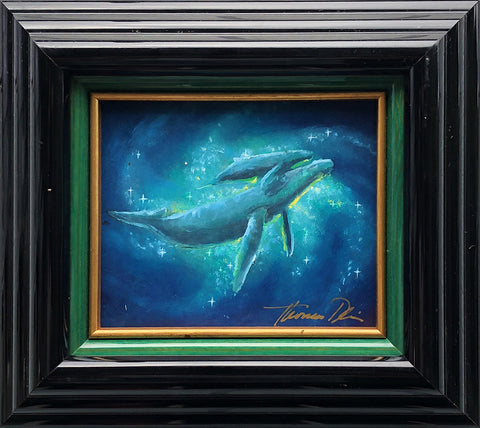 Heavenly Bonding Whale Color Sketch 9x8 Framed Painting