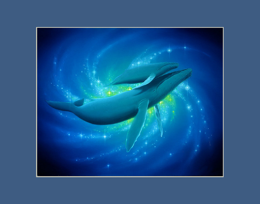 Heavenly Bonding Whale Hawaii art prints gift print