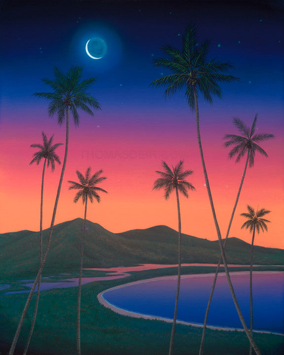 Kailua Twilight Painting by Hawaii Artist Thomas Deir