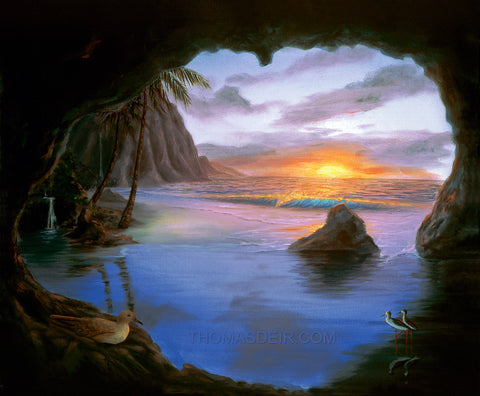 Kauai Cave Original Painting by Hawaii Artist - Holiday Sale!