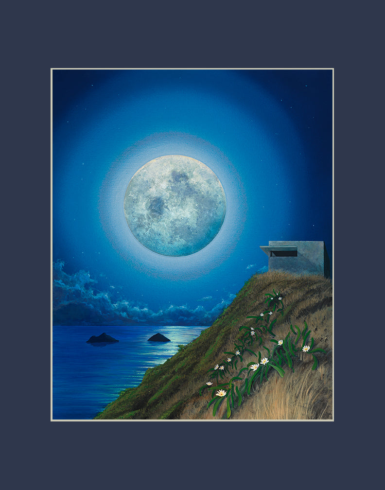 Lanikai Pillbox Full Moon Matted Print