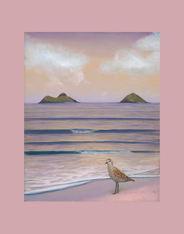 Lanikai Kolea Matted Print by Hawaii Artist Thomas Deir