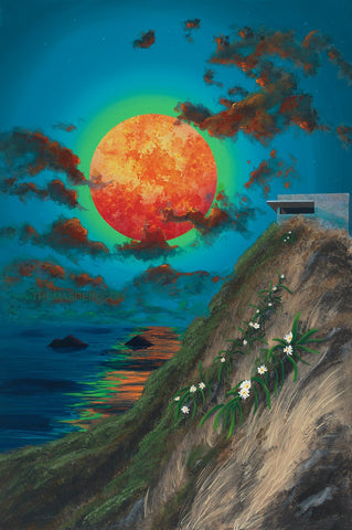 Lanikai Pillbox Blood Red Moon Painting by Hawaii Artist Thomas Deir