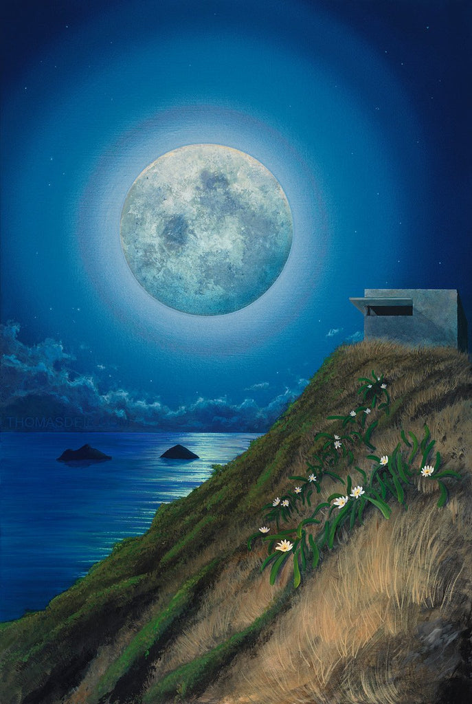 Lanikai Pillbox Full Moon Painting by Hawaii Artist Thomas Deir