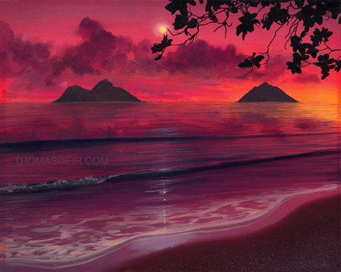 Lanikai Sunrise Painting by Hawaii Artist
