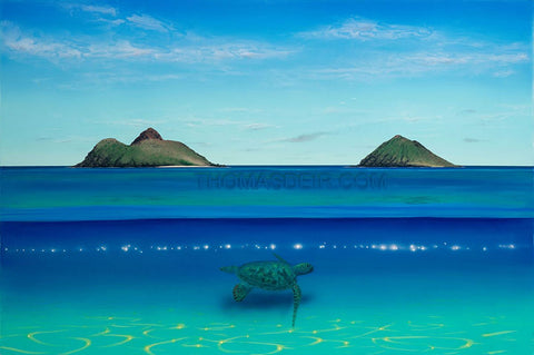 Lanikai Turtle Painting - Holiday Art Sale!