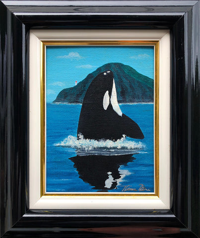 Makapuu Orca Color Sketch 9x11 Framed Painting