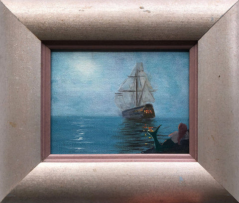 Mermaid Ship Color Sketch 11x8 Framed Painting