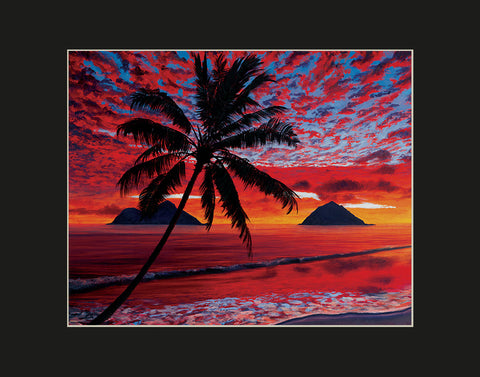 Mokulua Fireclouds Hawaii art prints gift print