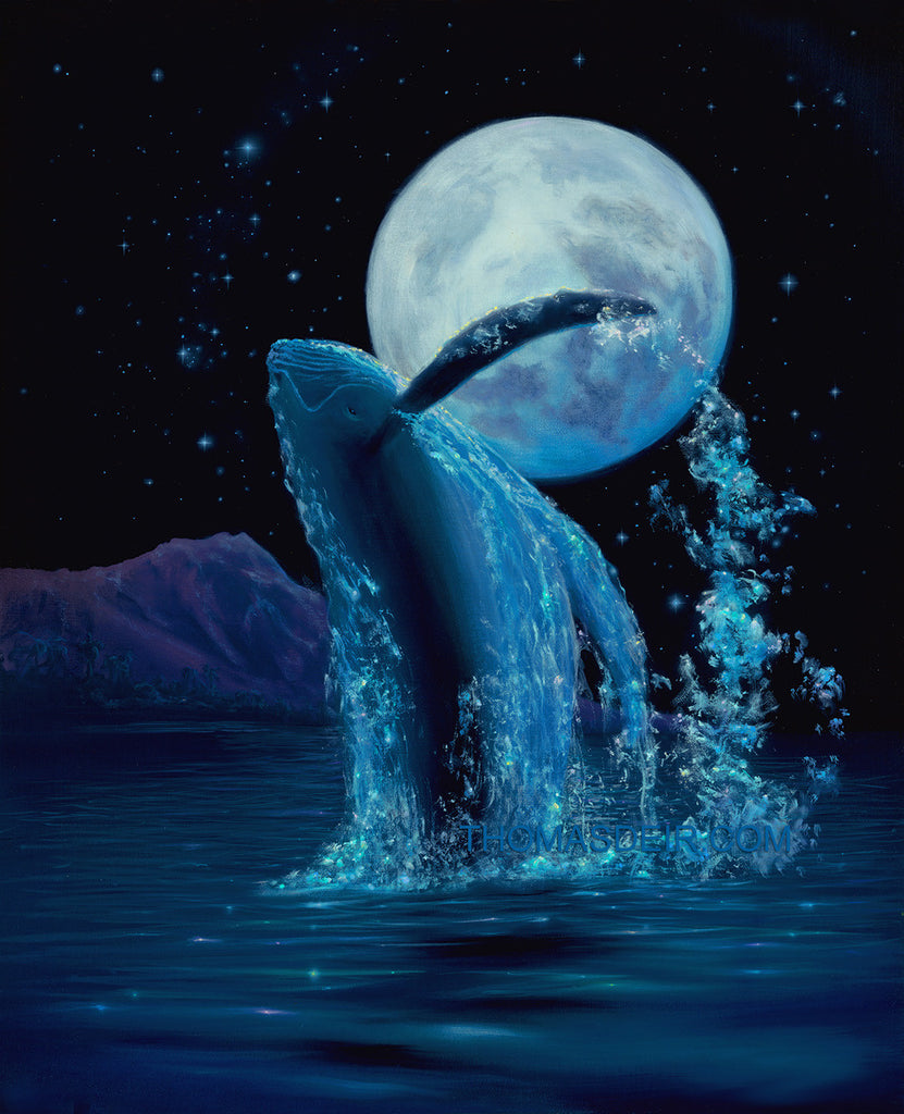 Whale Moonlight Rapture Giclee Canvas Prints by Hawaii Artist