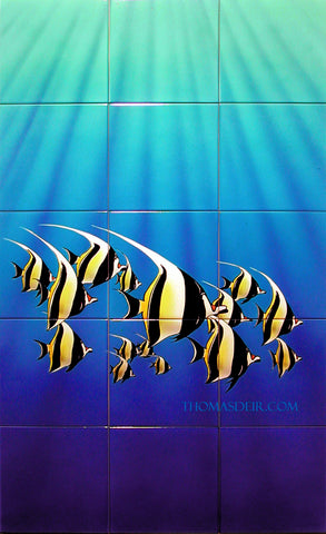 Moorish Idol Angelfish 24x40 Hand-Painted Tile