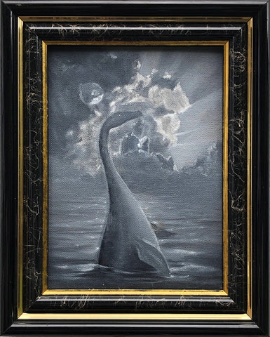 Nessie Lives! 2 Color Sketch 8x10 Framed Painting