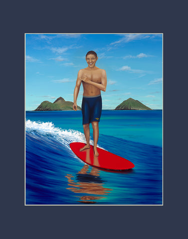 Obama Surfing Hawaii Matted Print