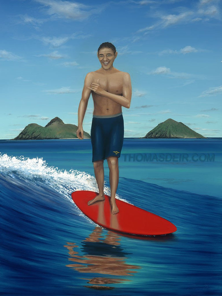 Obama Surfing 24x36 Painting