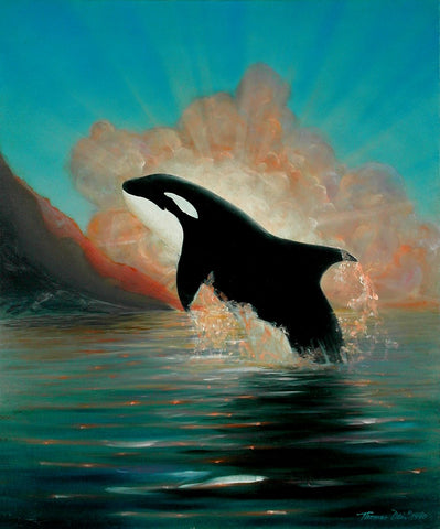Orca Sunrise 20x24 Painting
