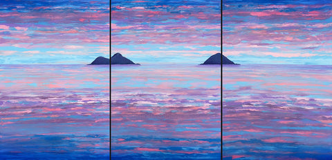 Pink Mokuluas Triptych Painting - Holiday Art Sale!
