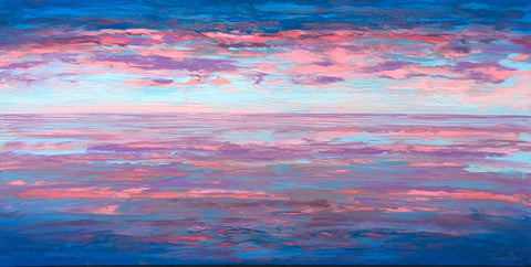 Pink and Blue Sunset 18x36 Painting