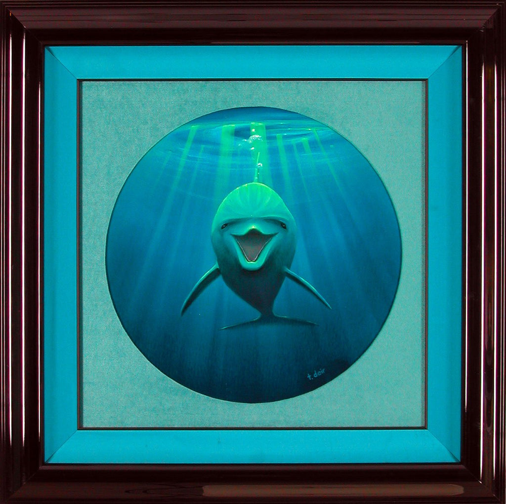 Portrait of a Dolphin Framed Painting - Holiday Art Sale!