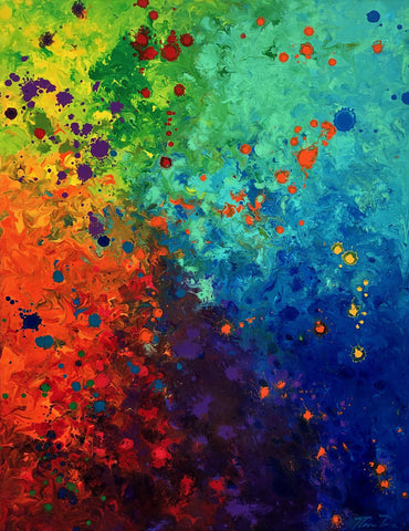 Rainbow Abtract 18x24 GW Painting - Holiday Art Sale!
