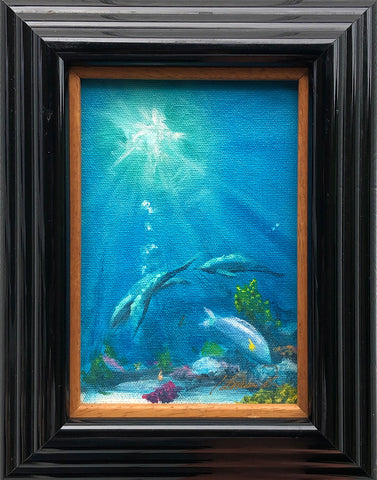 Reef Dolphins Color Sketch 8x10 Framed Painting