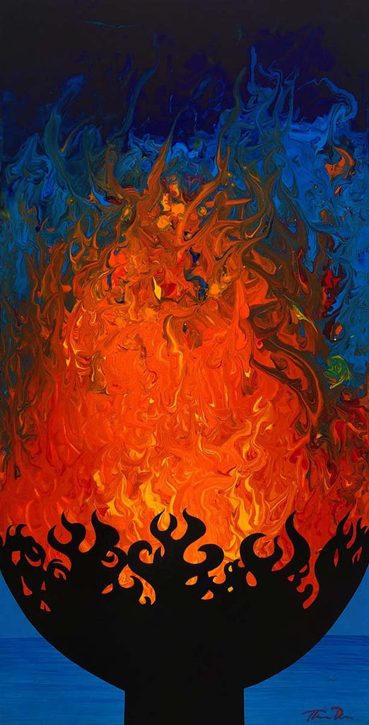 Rumfire Abstract 15x30 Painting