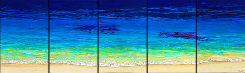 Sea Foam Pentaptych 36x120 Painting