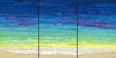 Sea Foam Triptych 36x72 Painting