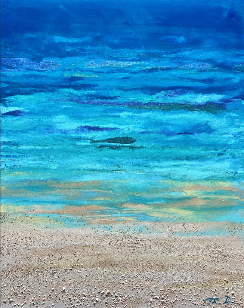 Turquoise Beach 1 16x20 Painting