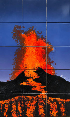 Holiday Sale! Volcano1 18x30 Hand-Painted Tile Mural