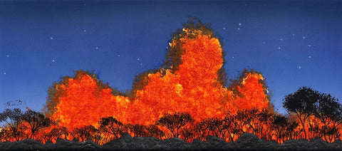 Holiday Sale! Volcano Tile1 10x22 Hand-Painted Tile