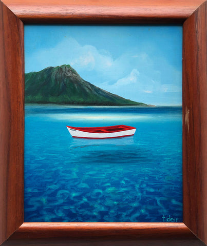 Waikiki Boat Color Sketch 10x12 Framed Painting