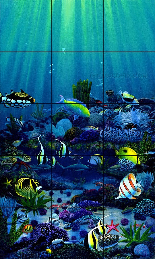tropical fish tile mural