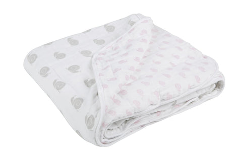 Lässig Sweet Snails Cozy Toddler Muslin Blanket in Pink/Grey