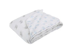 Lässig Big Elephant Cozy Toddler Muslin Blanket in Blue/Grey