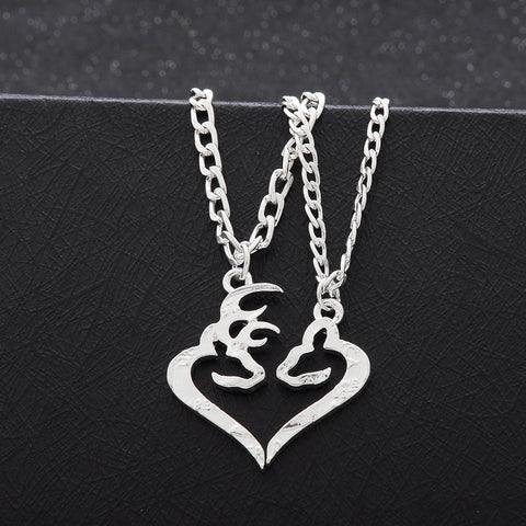 Couples Buck And Doe Cut Out Necklace