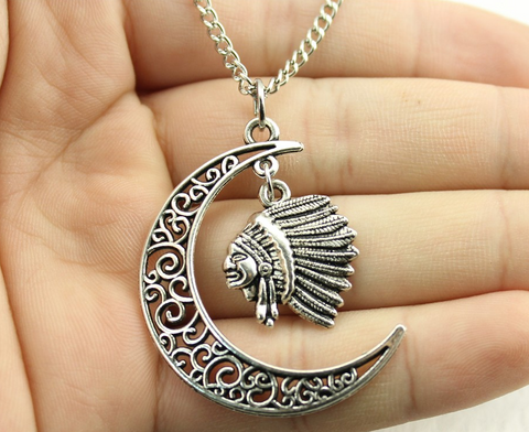 Crescent Moon Native Chief Necklace