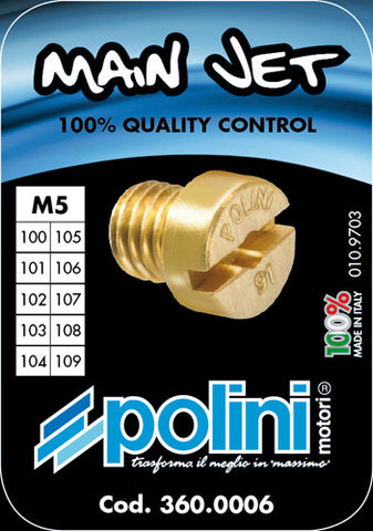Polini 5mm main jet kit for Dellorto PHBG carburetors  sizes 100-109 - Dynoscooter.com