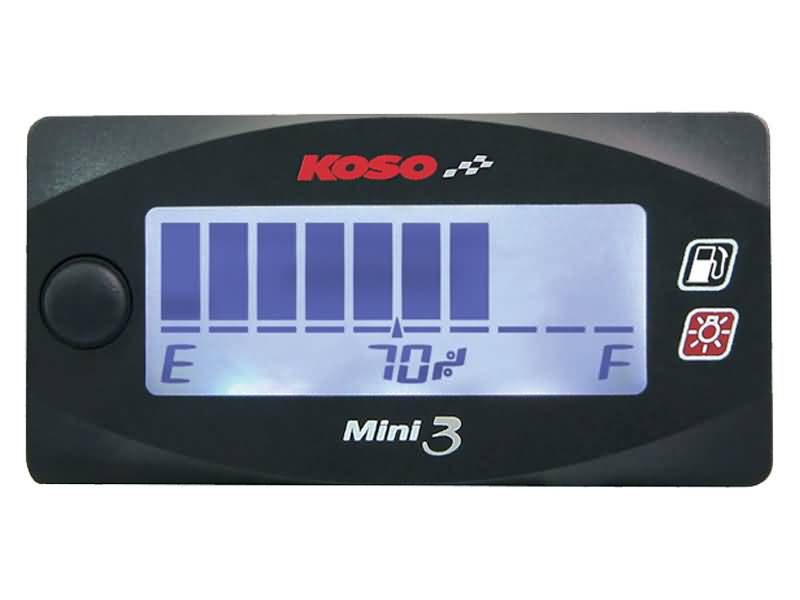 Koso Mini 3 fuel gauge with white backlight