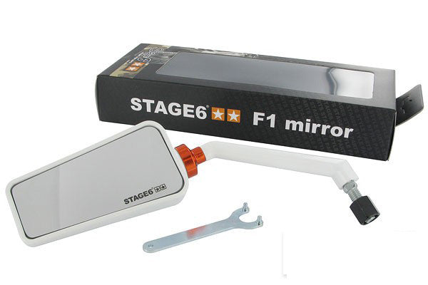 Stage6 F1 WHITE MIRROR LEFT 8MM - Dynoscooter.com