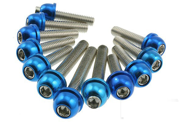 STR8 Blue anodized transmission cover screw kit Minarelli - Dynoscooter.com